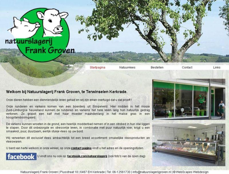 Website voor Natuurslagerij Frank Groven
