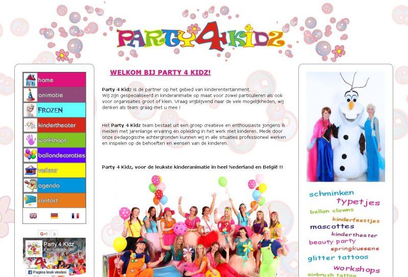 Mobielvriendelijke website met beheersysteem voor www.party4kidz.nl
