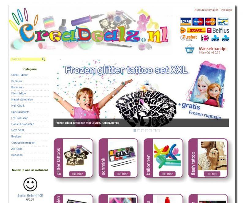 Uitgebreide webwinkel www.crea-dealz.nl