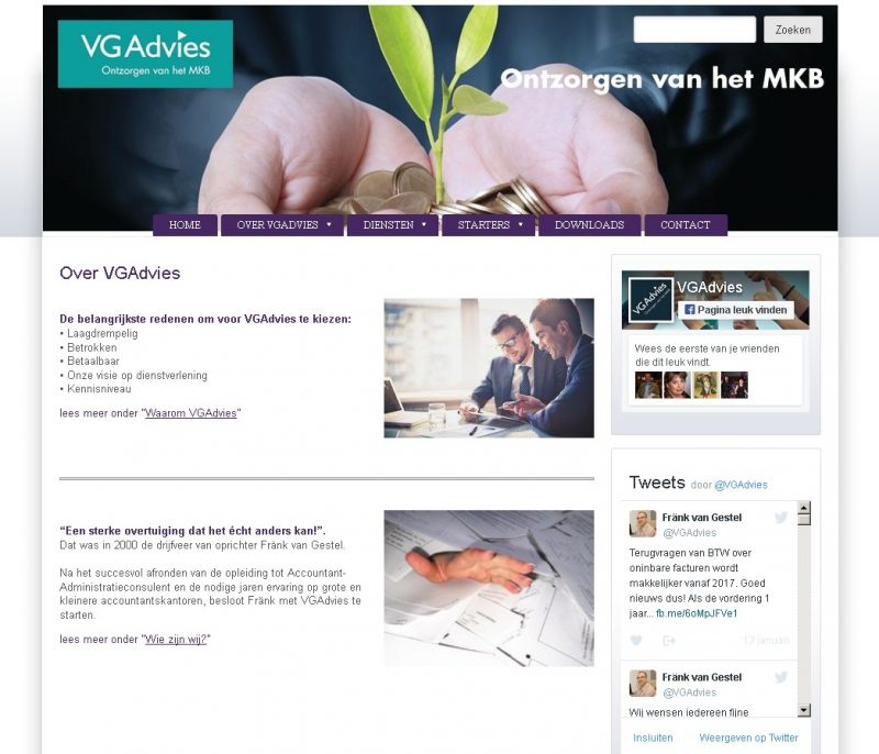 Website www.vgadvies.nl redesign voor VGAdvies
