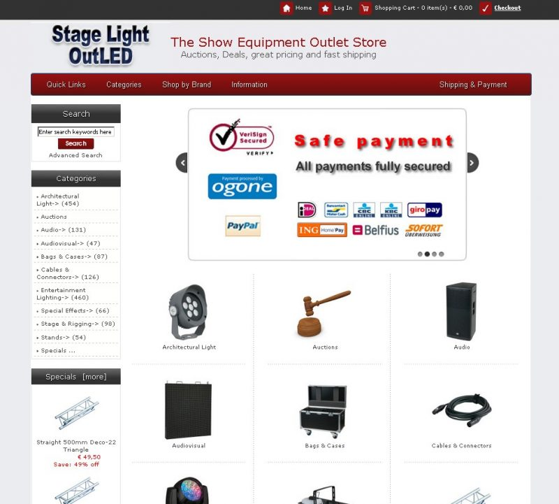 "Webshop ""www.StageLightOutLED.com"" voor Highlite International BV"