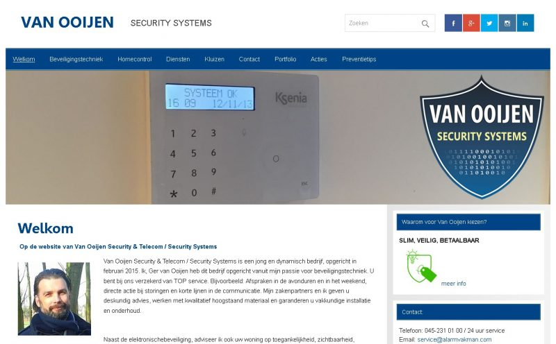 Website met beheersysteem voor van Ooijen Security Systems