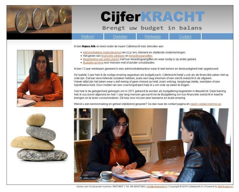 """Website """"www.cijferkracht.nl"""" voor Najwa Atik"""