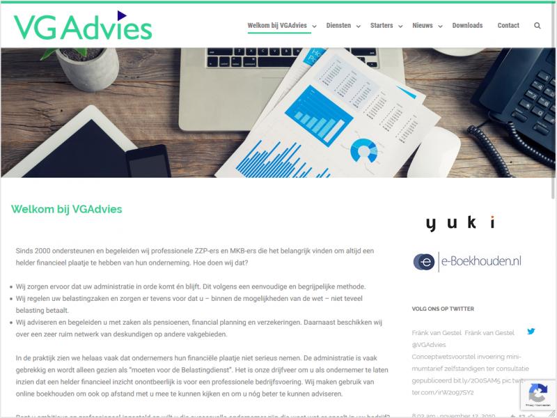 Website voor VG Advies, financiële en administratieve ondersteuning voor het MKB