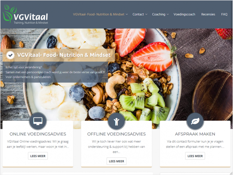 Website voor VGVitaal, Training, Nutrition & Mindset